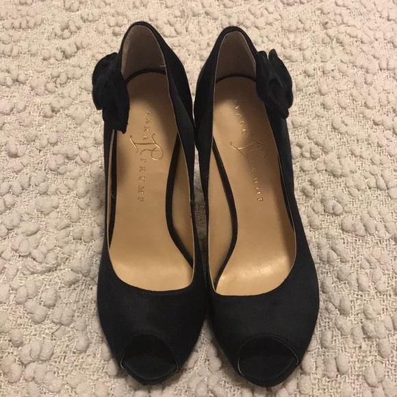 Ivanka trump black satin peep toe heels with bows
